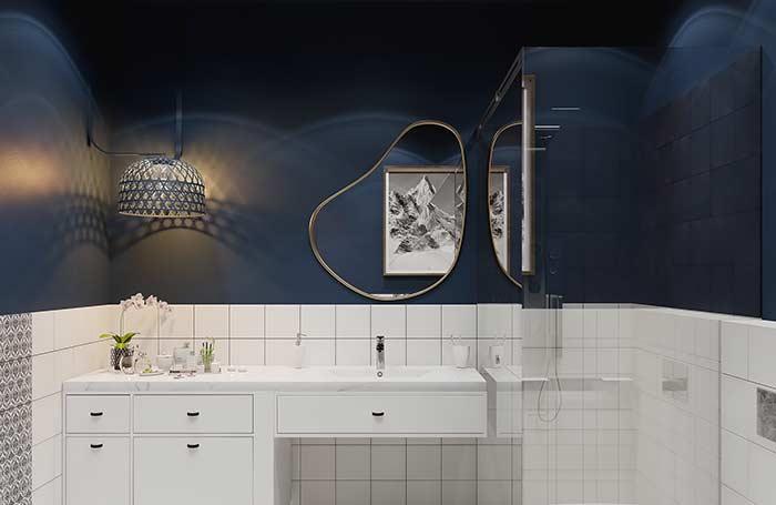 Banheiro original com azul petróleo
