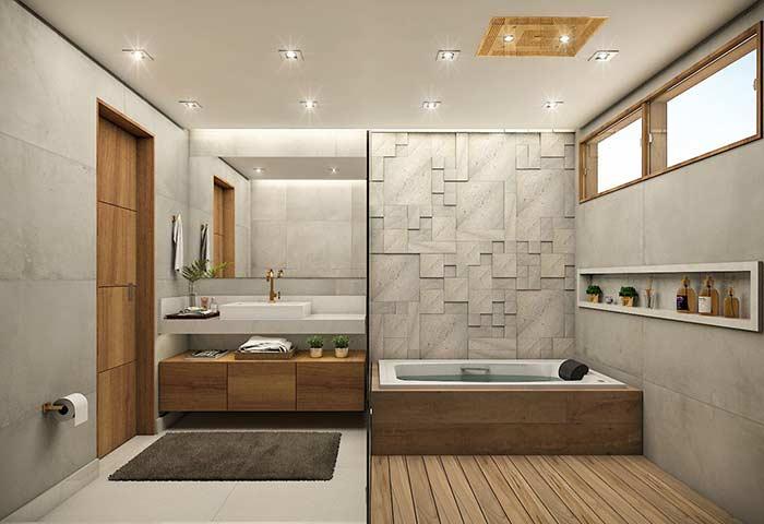 Deck de madeira no banheiro