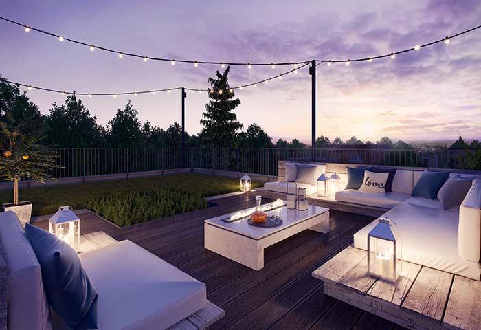 Use a mesma madeira do deck para criar os móveis da área externa