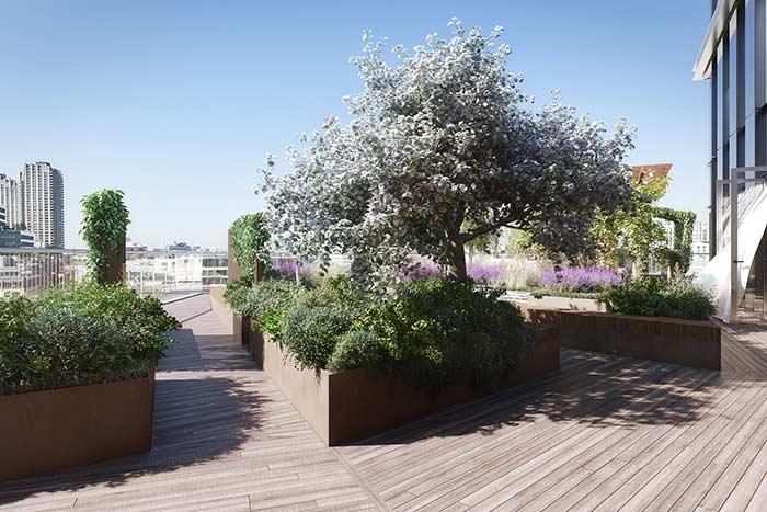 As caixas de madeira sobre o deck acomodam plantas diversificadas