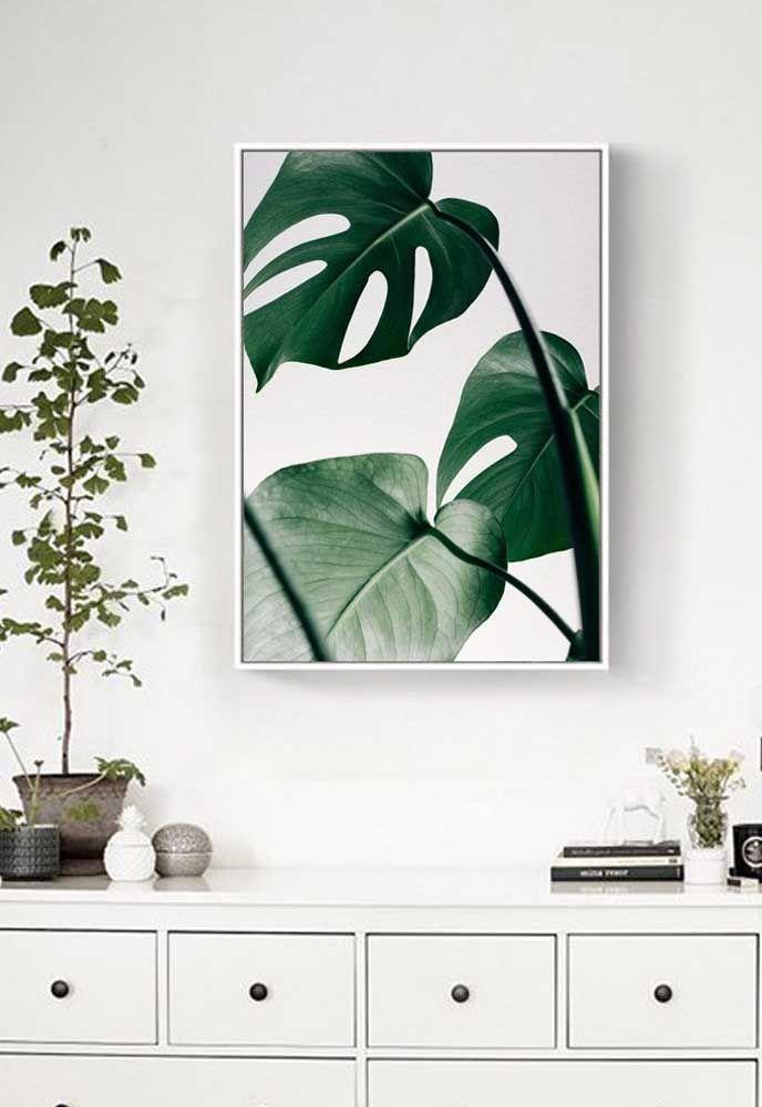 Base branca da decoração evidenciou o verde intenso das folhas de Costela de Adão no quadro