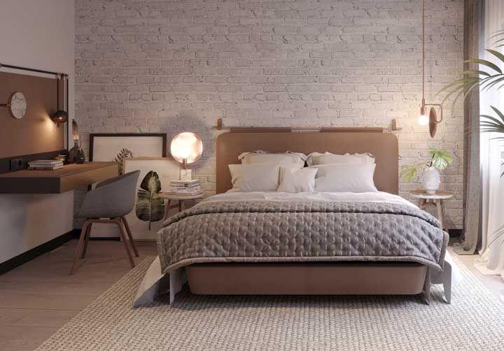 Um quarto clean, mas com inspiração botânica por todos os lados