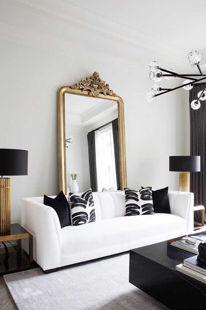 Espelho para sala dourado
