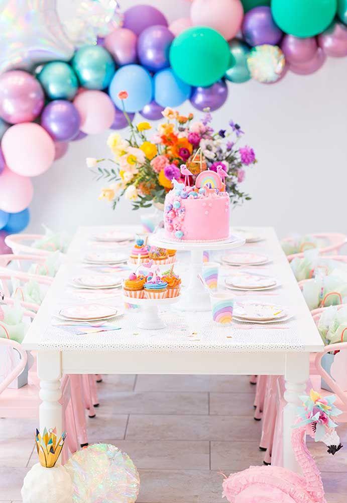 Festa flamingo decoração super colorida em candy colors