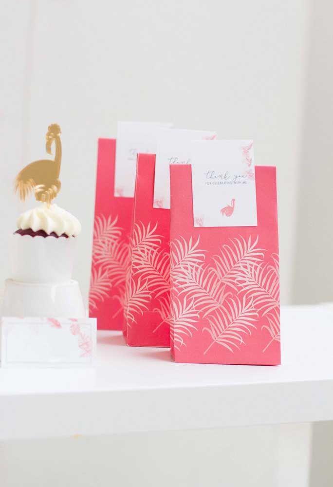 Embrulho para lembrancinha de festa flamingo