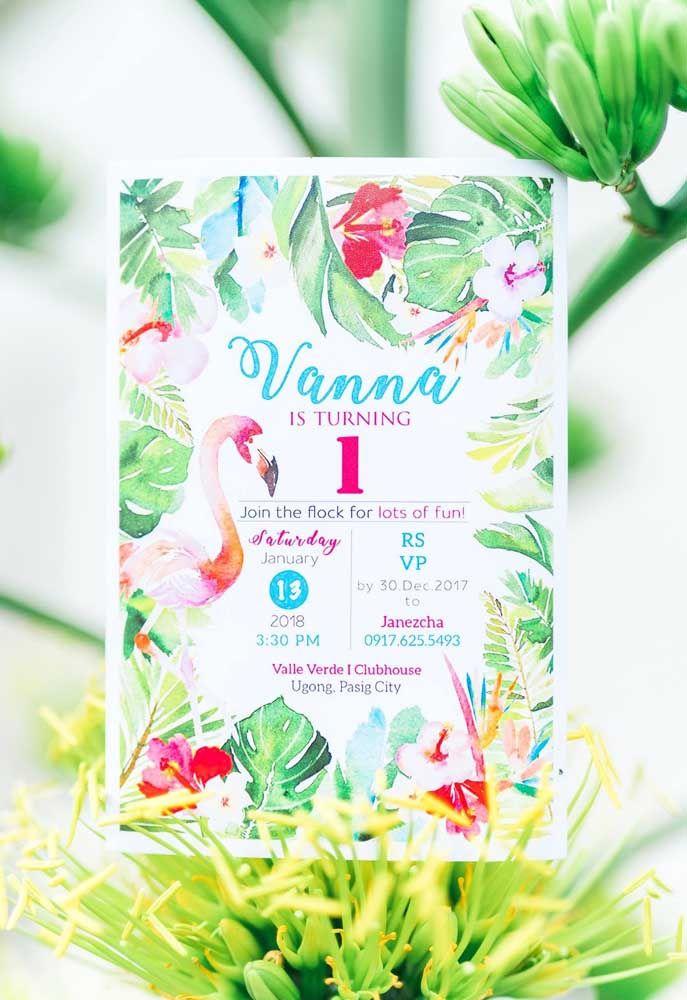 Convite para festa flamingo