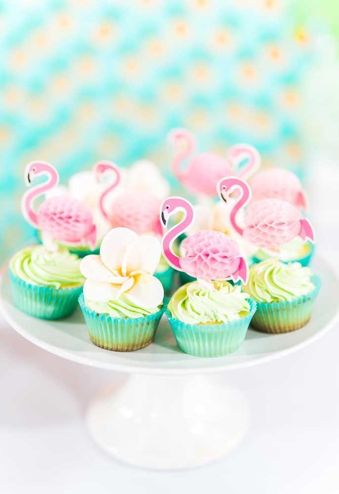 Outra ideia de decoração para os seus cupcakes flamingos