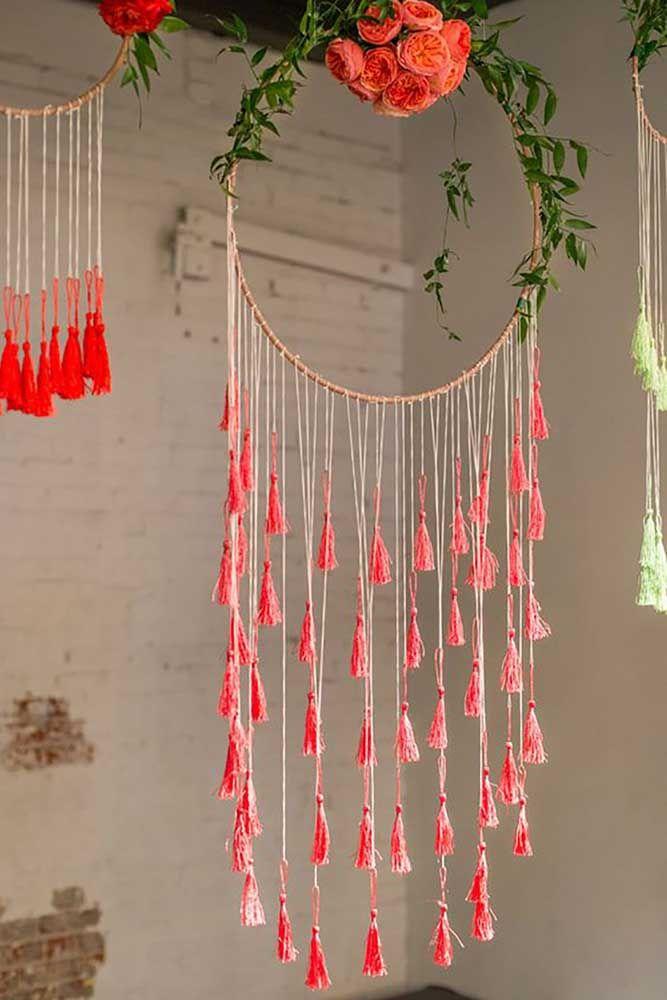 Filtro dos sonhos com flores, ótimo para decoração em varanda