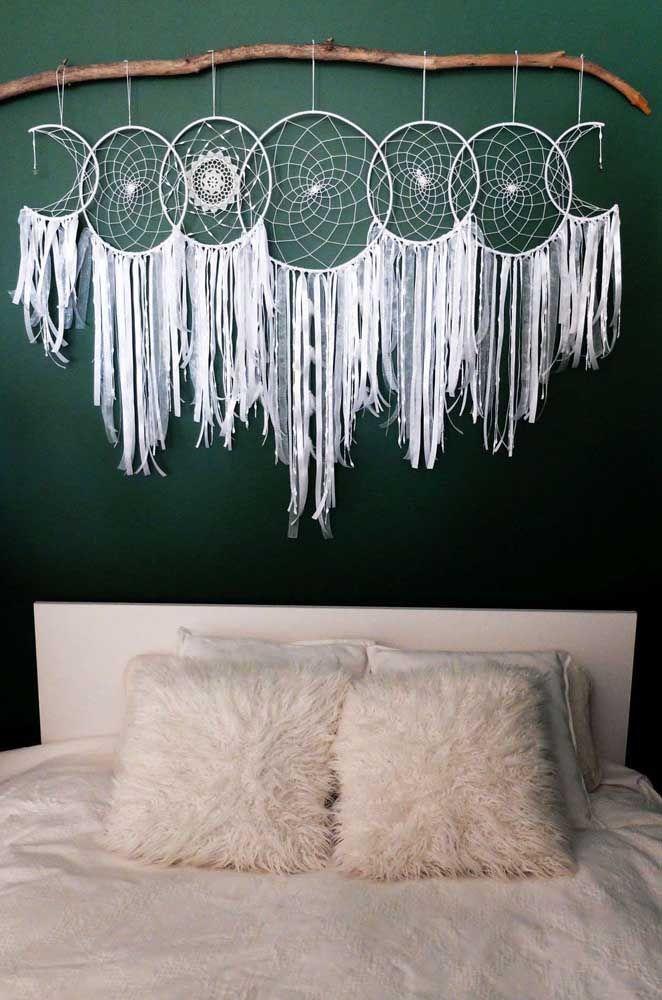 Filtro dos sonhos lindo com as fases da lua para sua cabeceira de cama