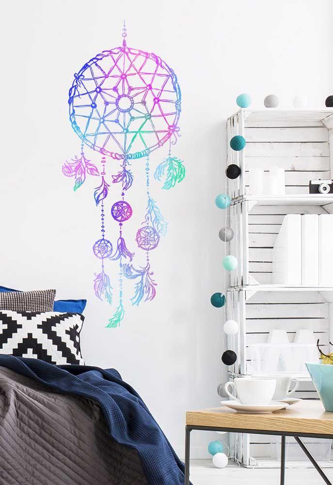 Modelo que pode ser tanto pintura quanto adesivo para salas ou quartos