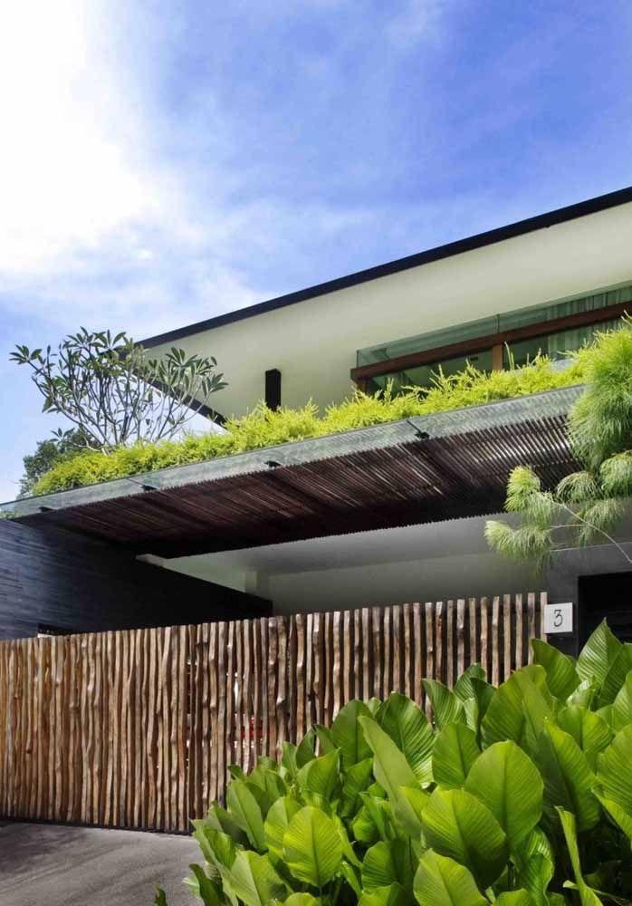 Construído entre os pavimentos da casa, esse telhado verde pode ser apreciado de vários ângulos diferentes