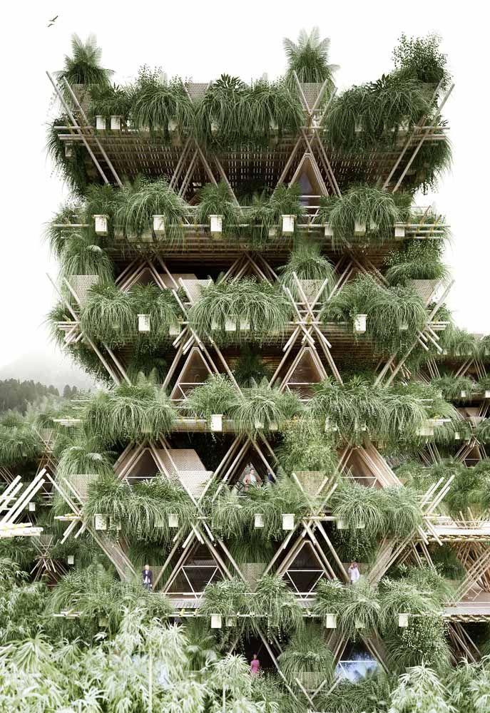 Telhado verde, fachada verde, guarda corpo verde: enfim, um prédio verde