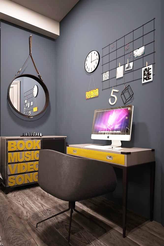 Uma proposta mais moderna e jovem para usar a escrivaninha pequena no quarto