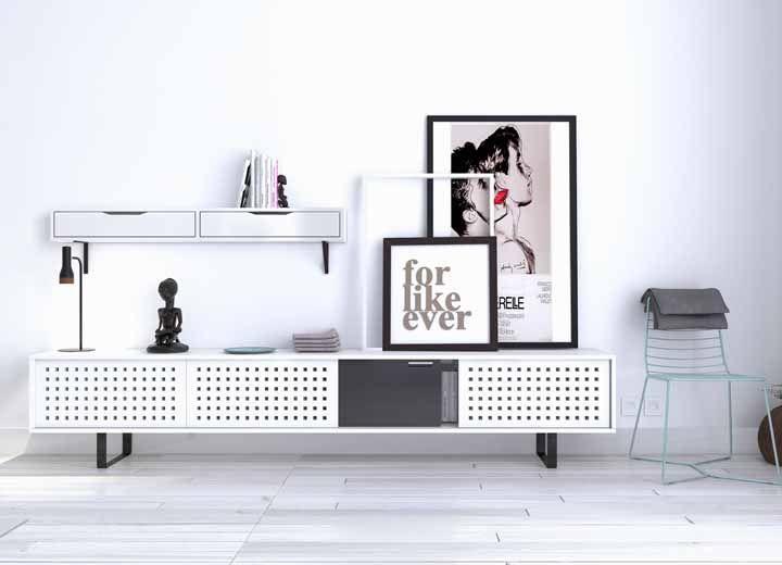 O rack retrô também tem vez nas propostas minimalistas de decoração