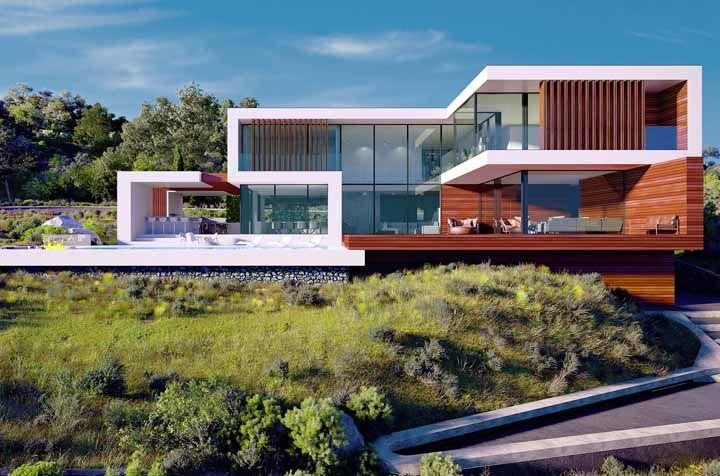 Para construções modernas e sofisticadas aposte na combinação entre madeira e vidro