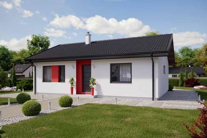 Aqui, a casinha branca investiu no vermelho vibrante como ponto de destaque