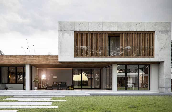 Fachada de concreto pode ser puro estilo e sofisticação, porque não?