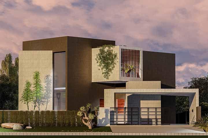 Valorize a fachada de concreto com plantas