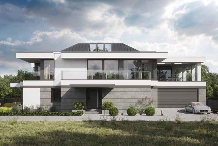 Para uma proposta moderna e atual combine o concreto com partes pintadas de branco