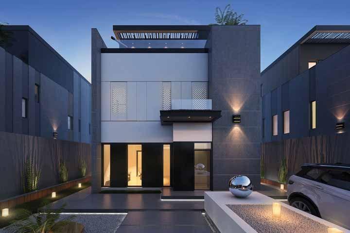 Coloque cor no concreto da fachada, mesmo que seja um tom mais forte de cinza