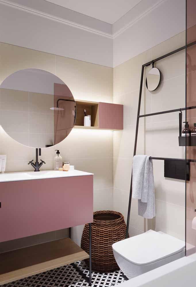 Armário rosa para o banheiro e sem ser clichê