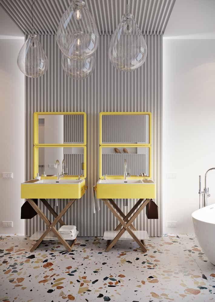 Não é só pelo design que essas pias se destacam, o amarelo tem uma grande responsabilidade nisso