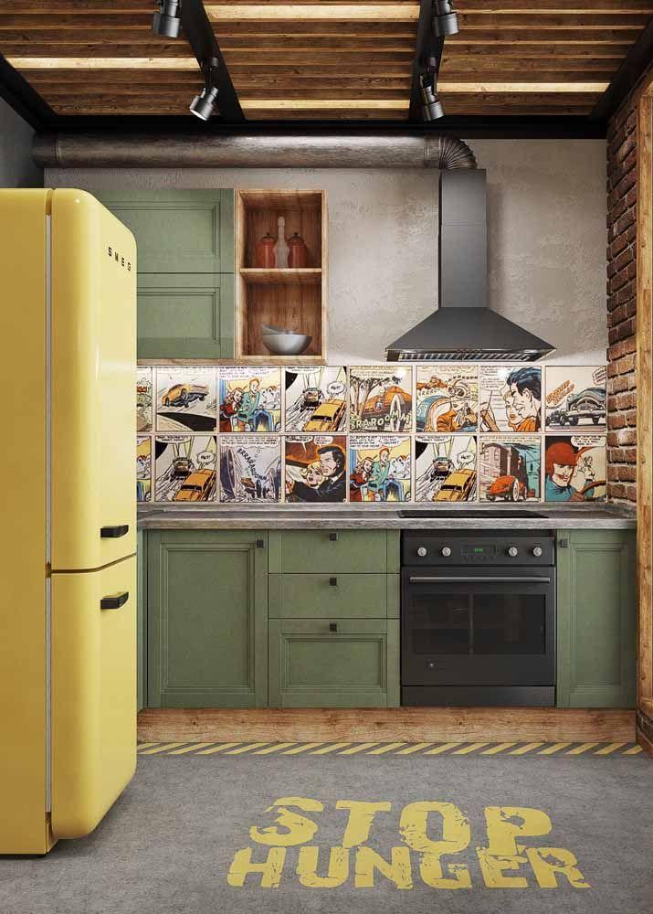 Decore sua cozinha com uma paixão antiga; a sugestão aqui são os antigos quadrinhos de super heróis