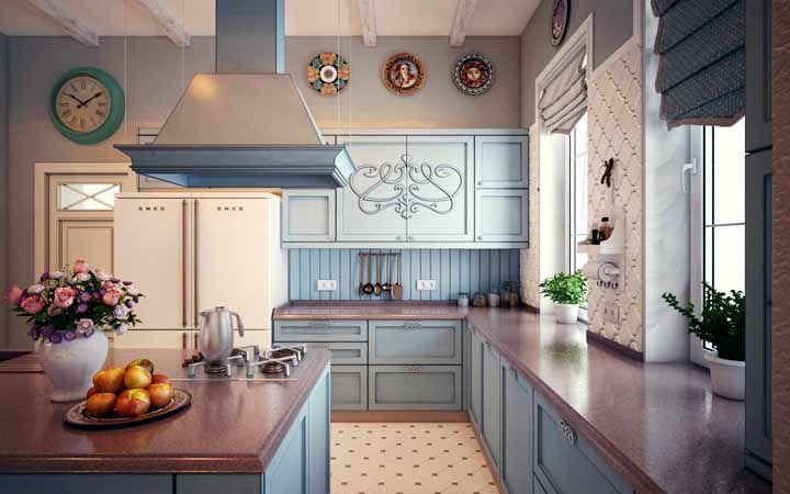Molduras e arabescos na cozinha retrô: sempre dá certo com eles