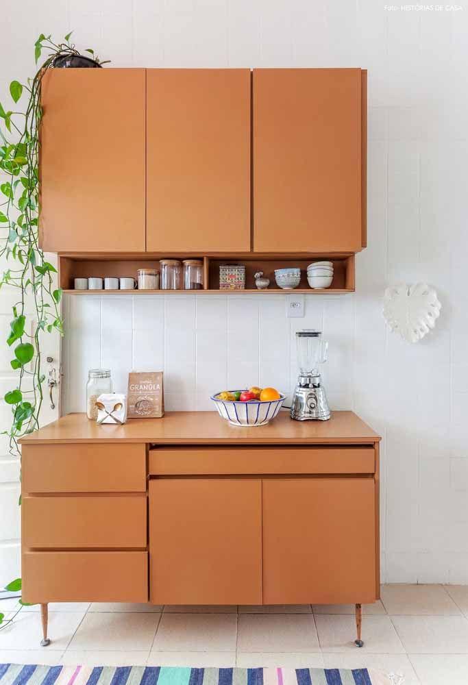 Móveis de cozinha com a cor para se destacar em ambiente clean