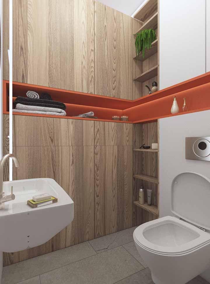 Nicho específico em L para banheiro na cor laranaja