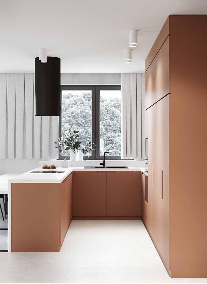Armários de cozinha podem focar na cor que você mais gosta