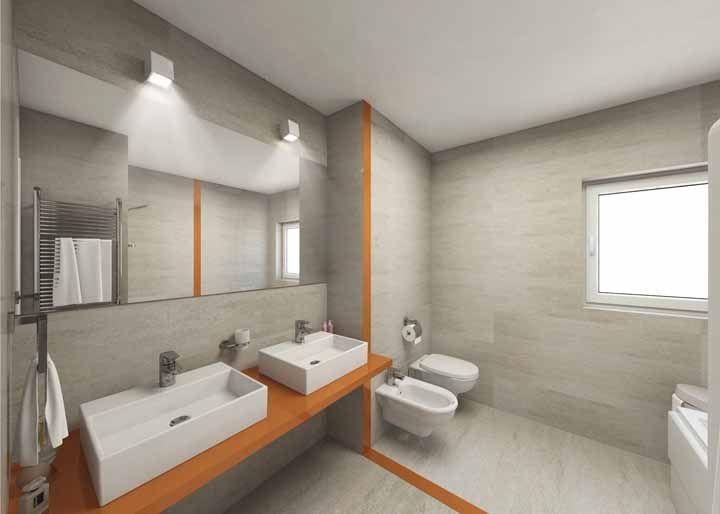 Linhas de rejunte com a cor laranja e bancada na mesma cor nesse banheiro