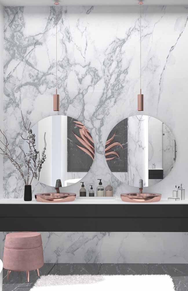 Se você quer investir em um ambiente com as últimas tendências de cores na decoração, então vá de branco, preto, cinza e Rose Gold.