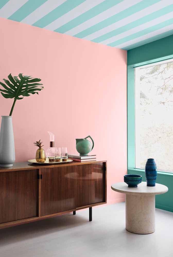 Outra ideia em rosa e verde para explorar ainda mais esta combinação em diversos ambientes!