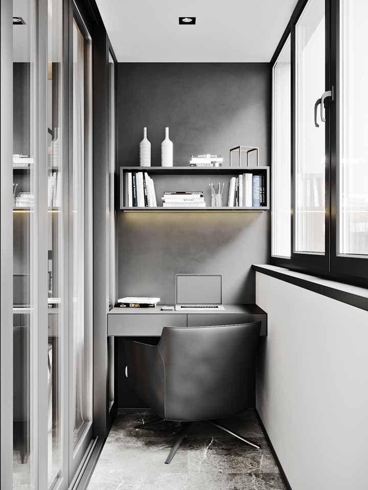 Graduação de cinza e branco como composição neutra neste escritório