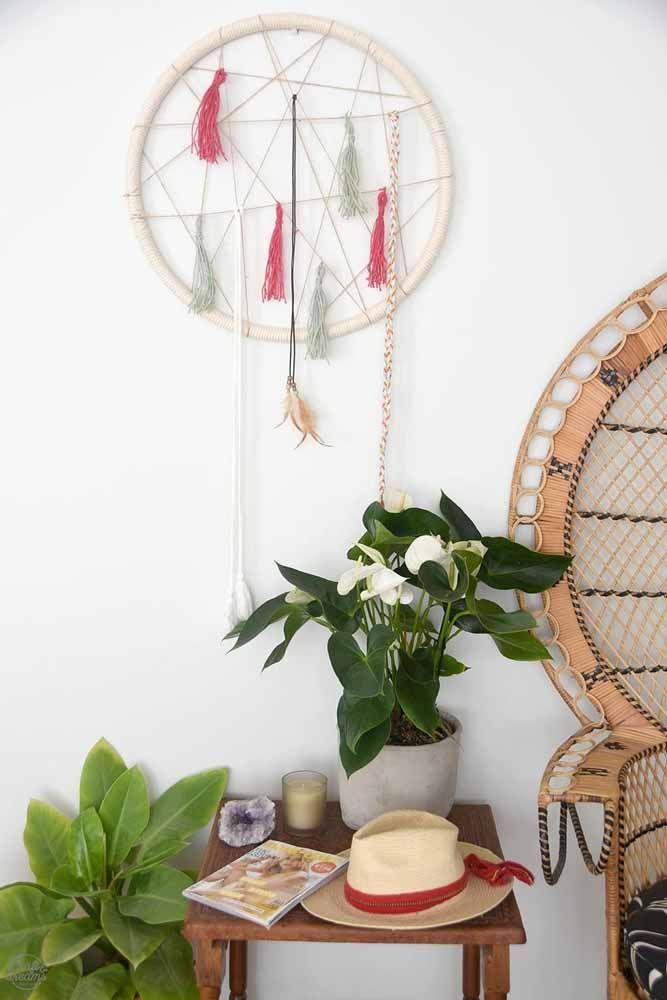 Incrível filtro dos sonhos de macramê para decoração.