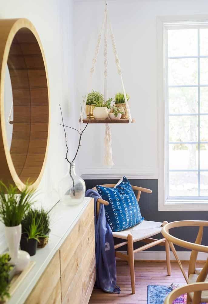Prateleira de macramê: Ótima decoração para salas e quartos.
