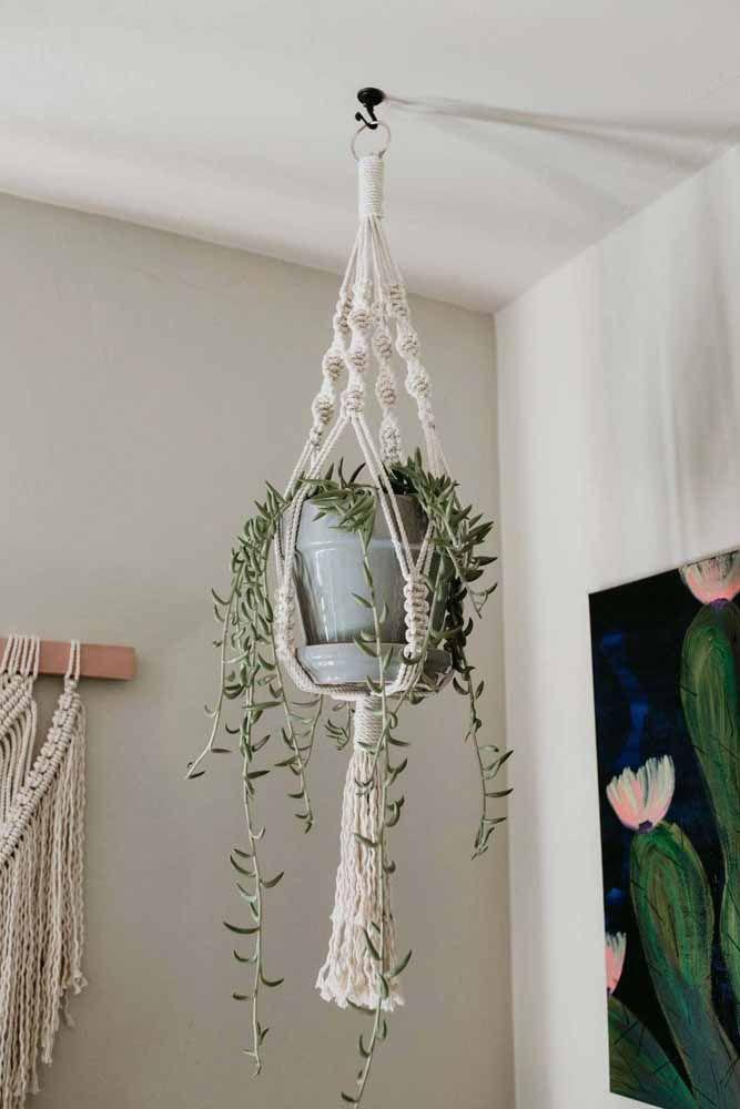 Suporte de macramê grande para os vasos de plantas