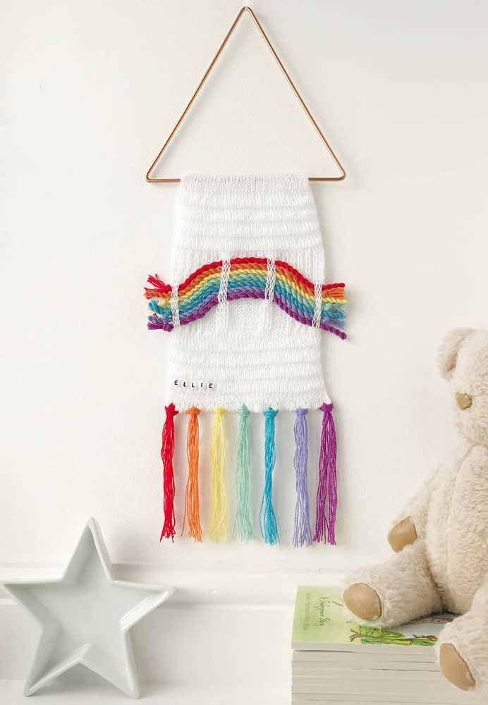 Macramê para quarto infantil: Cores cruas e de arco-íris para quartos claros