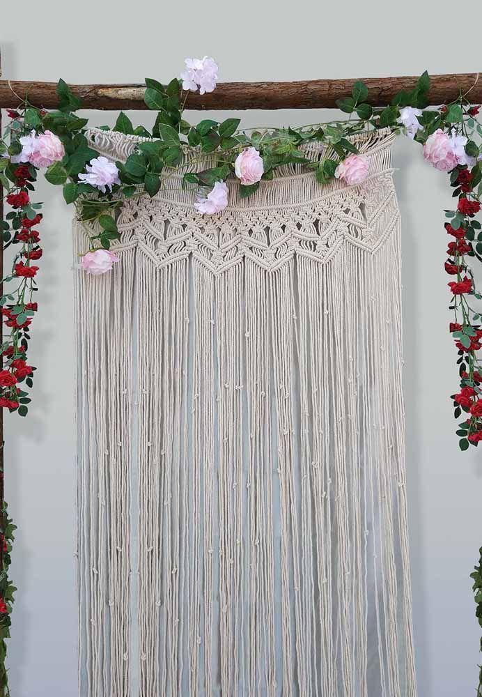 Macramê para casamentos: Nada mais lindo que esta decoração para cerimônia ser ainda mais inesquecível.