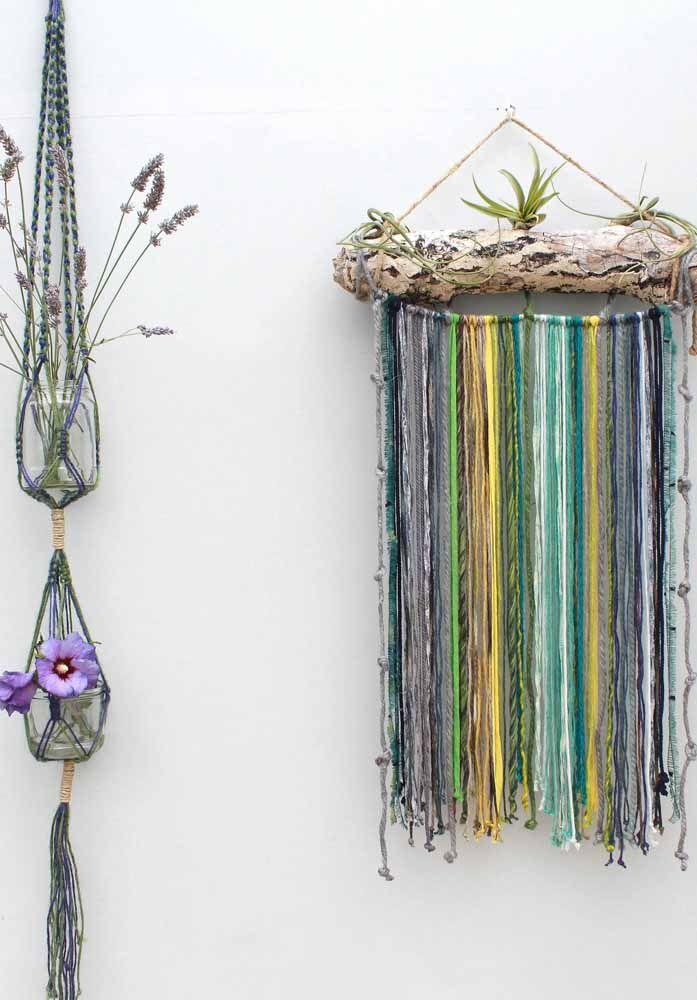 Invista nas cores e na criatividade para a decoração com macramê
