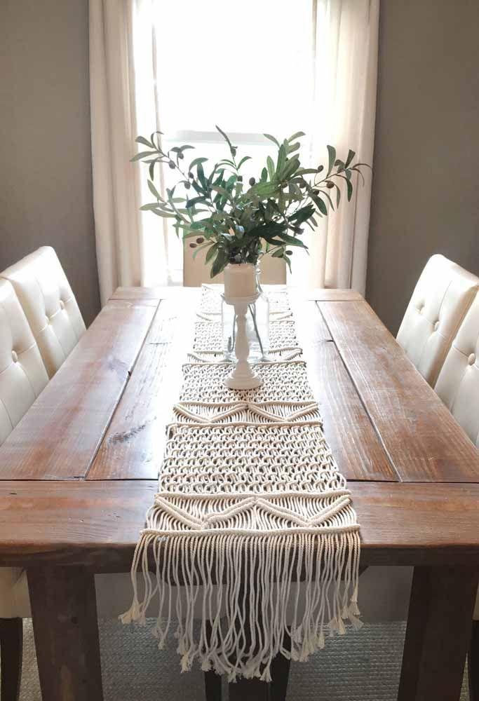 Toalha de mesa de macramê: Sala de jantar refinada