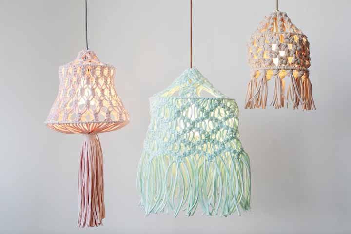 Luminárias pendentes de macramê: Sugestiva para quarto infantil