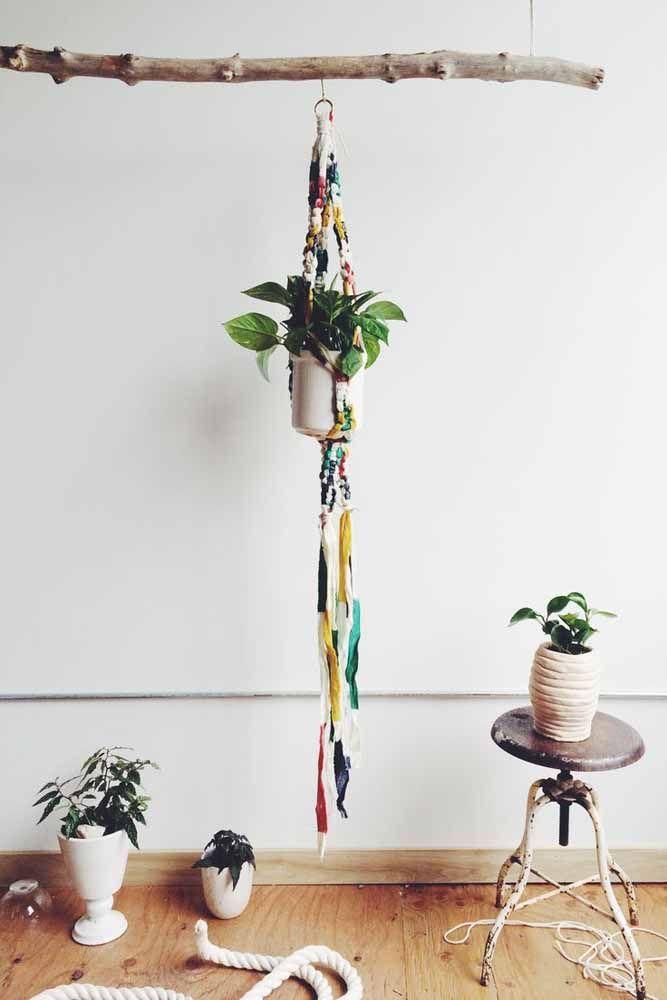 Macramê para vasos (plant hanger): Suporte colorido para suas plantas