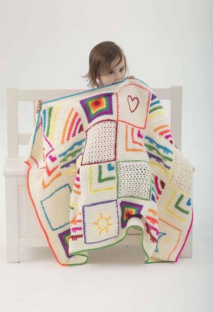 Cobertor de crochê para crianças; mas não é qualquer cobertor ele é todo inspirado no universo infantil