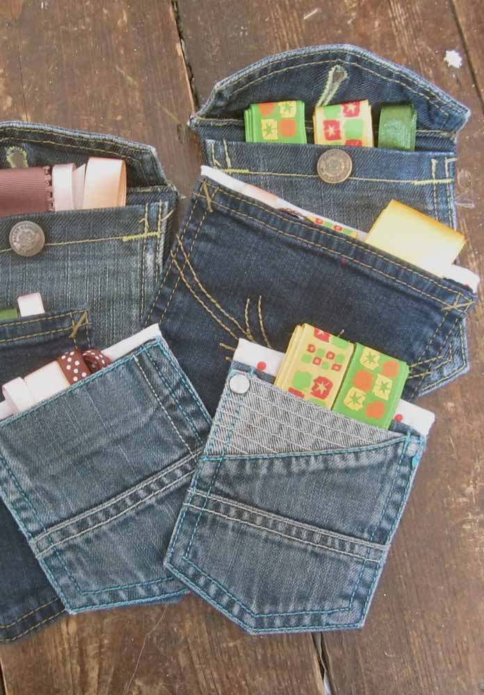 Bolsos de calça jeans se transformam aqui em porta trecos