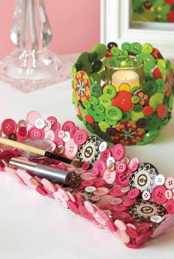 Já pensou em fazer artesanato com botões? Olha o que você pode fazer com eles