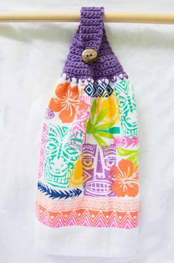 Panos de prato com suporte em crochê: quem não precisa de um desses em casa?