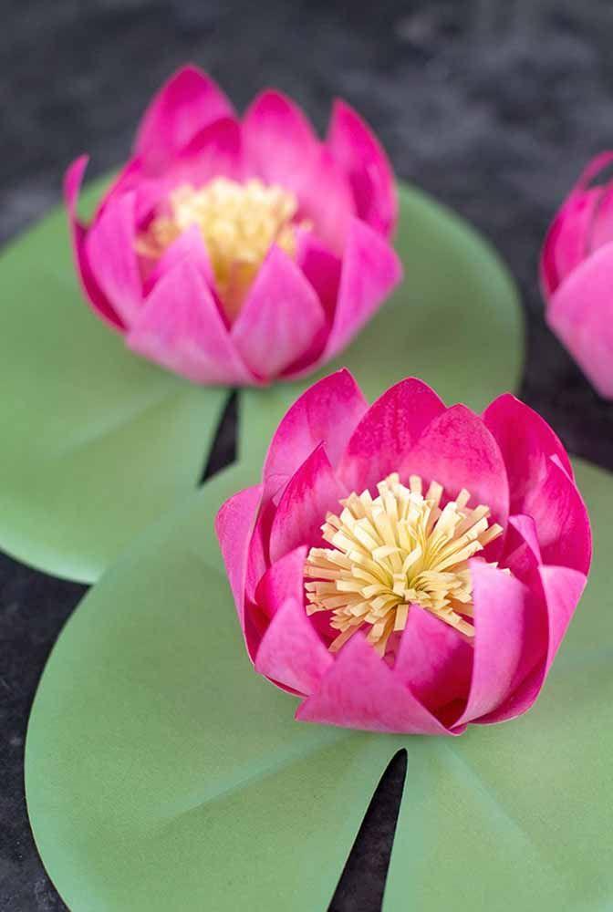 A exótica flor da vitória régia também ganhou versão em papel