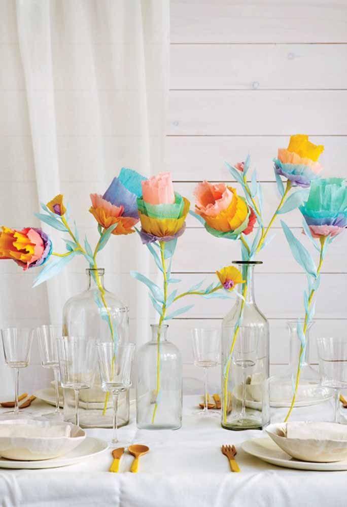 Quer algo mais colorido e divertido com flores de papel? Tem também!